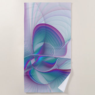 Colorful Modern Pink Blue Turquoise Fractal Art Beach Towel