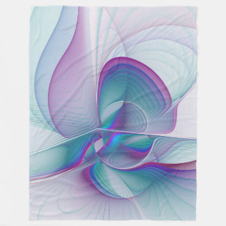 Colorful Modern Pink Blue Turquoise Fractal Art Fleece Blanket