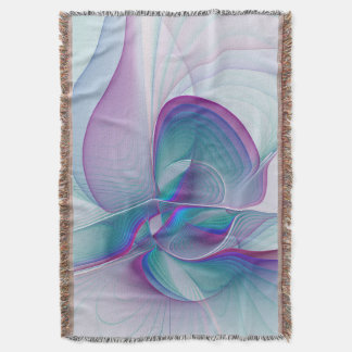 Colorful Modern Pink Blue Turquoise Fractal Art Throw Blanket
