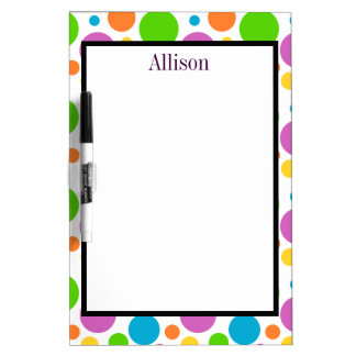 Colorful Modern Polka Dot Pattern with Name Dry Erase Board