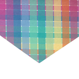 Colorful Modern Rainbow Plaid Stripes Tissue Paper
