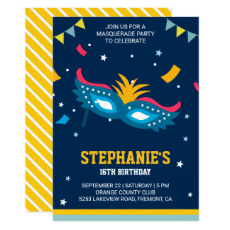 Colorful Modern Sweet 16 Masquerade Birthday Party Card