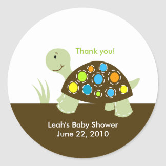 Colorful Modern Turtle Baby Shower or Birthday Classic Round Sticker