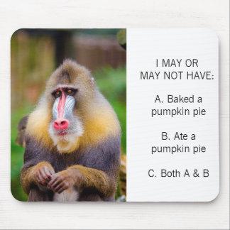 Colorful Monkey Photo Funny Pumpkin Pie Meme Mouse Pad