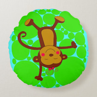 COLORFUL MONKEY ROUND KID'S PILLOW