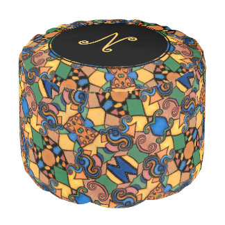 Colorful Monogram Modern Abstract Pattern Pouf