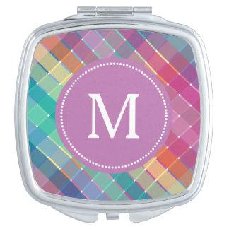Colorful Monogram Rainbow Plaid Stripes Travel Mirror