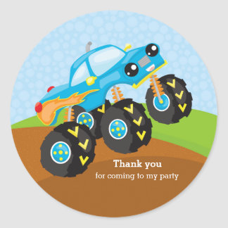 Colorful monster truck classic round sticker