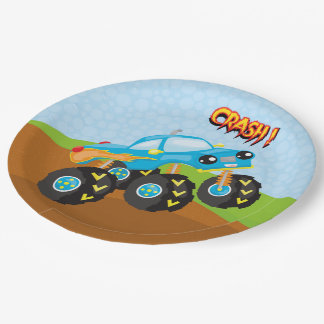 Colorful monster truck paper plate