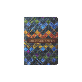 Colorful Mosaic Burlap Elegant Leather Look #9 Passport Holder