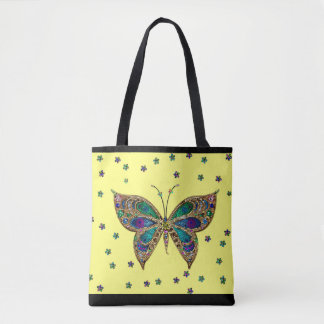 Colorful Mosaic Butterfly Glitter Stars Tote Bag