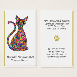Colorful Mosaic Cat Gold Paw Animal Business Card