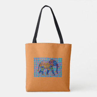 Colorful Mosaic Elephant Tote Bag