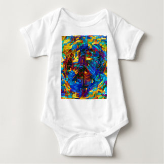 Colorful mosaic peace symbol baby bodysuit