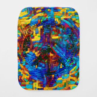 Colorful mosaic peace symbol burp cloth