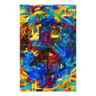 Colorful mosaic peace symbol customized stationery