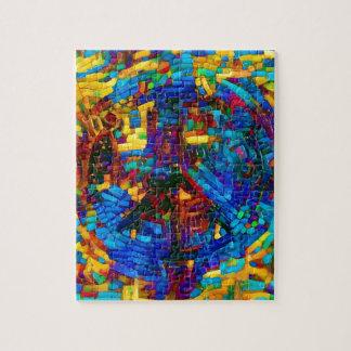 Colorful mosaic peace symbol jigsaw puzzle