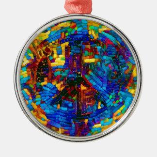 Colorful mosaic peace symbol metal ornament