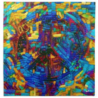 Colorful mosaic peace symbol napkin