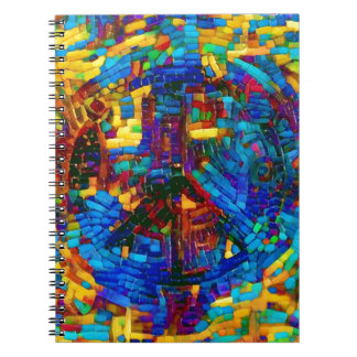 Colorful mosaic peace symbol notebook