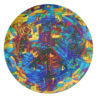 Colorful mosaic peace symbol plate