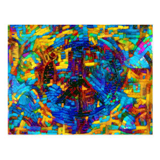 Colorful mosaic peace symbol postcard