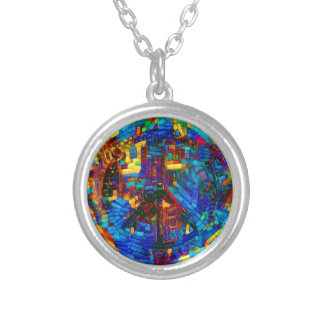 Colorful mosaic peace symbol silver plated necklace