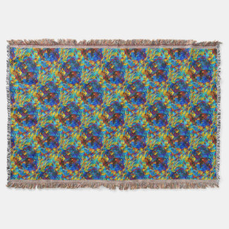 Colorful mosaic peace symbol throw blanket
