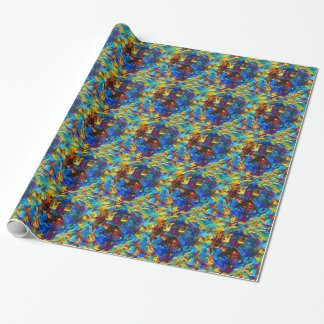 Colorful mosaic peace symbol wrapping paper