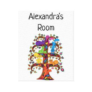 Colorful Mosaic Tree Cats Custom Name Kid's Room Canvas Print