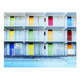 Colorful motel doors, Wildwood, NJ Postcard