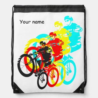 Colorful Mountain bike trials Drawstring Backpacks