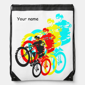 Colorful Mountain bike trials Drawstring Bag