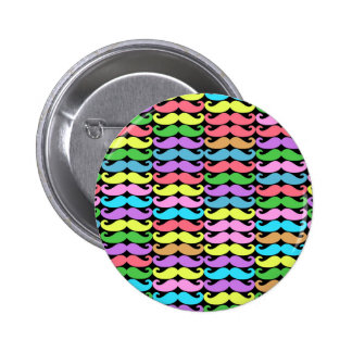 Colorful moustache pattern 2 inch round button