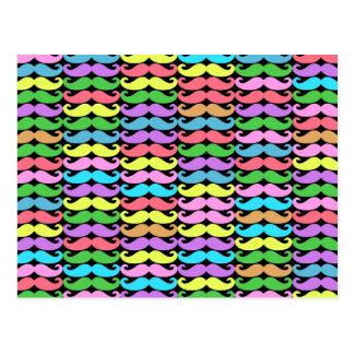 Colorful moustache pattern postcard