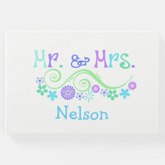Colorful Mr. and Mrs. Wedding Guest Book