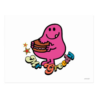 Colorful Mr. Greedy Eating Postcard