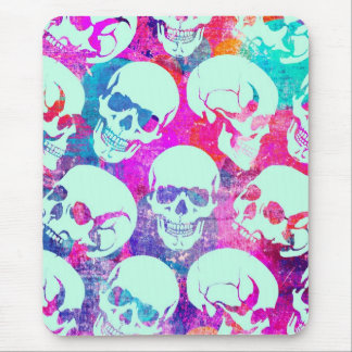 Colorful multi skull pattern in pink and blue. mouse pad
