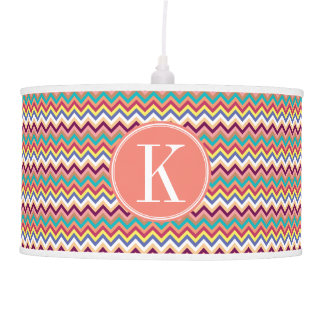 Colorful Multicolor Chevron with Coral Monogram Hanging Lamp