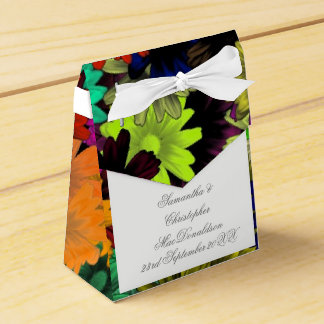 Colorful multicolored flowers wedding favor box