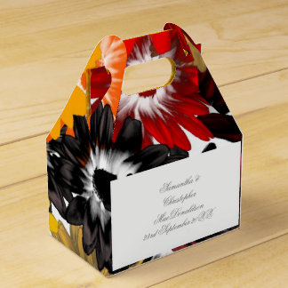 Colorful multicolored orange flowers wedding party favor box