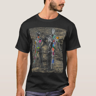 Colorful muscles chart anatomy t shirt
