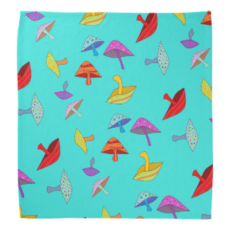 colorful mushrooms bandanna
