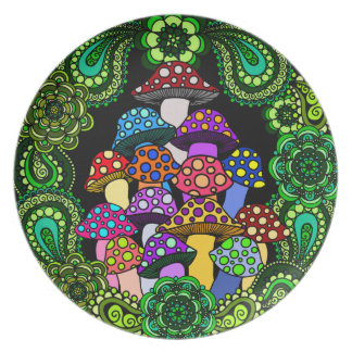 Colorful Mushrooms Decorative Plate
