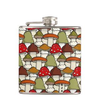 Colorful Mushrooms Design Flask