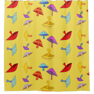 colorful mushrooms shower curtain