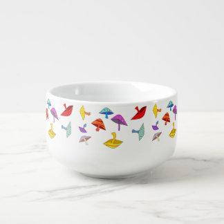 colorful mushrooms soup mug