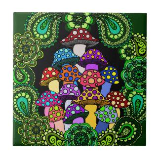 Colorful Mushrooms Tile