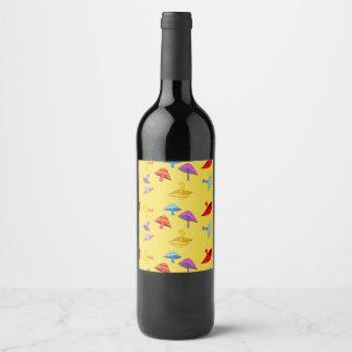 colorful mushrooms wine label