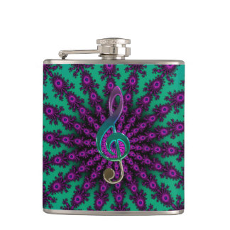 Colorful Music Clef on Star Fractal Flask